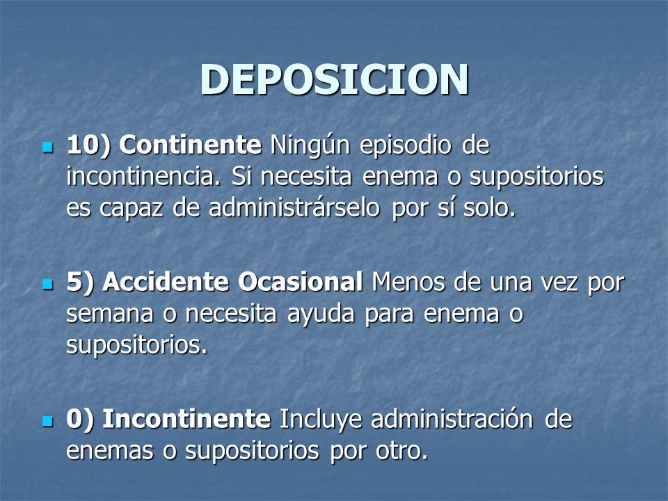 DEPOSICION 10) Continente Ningún episodio de incontinencia. Si necesita enema o supositorios es capaz de administrárselo por sí solo.