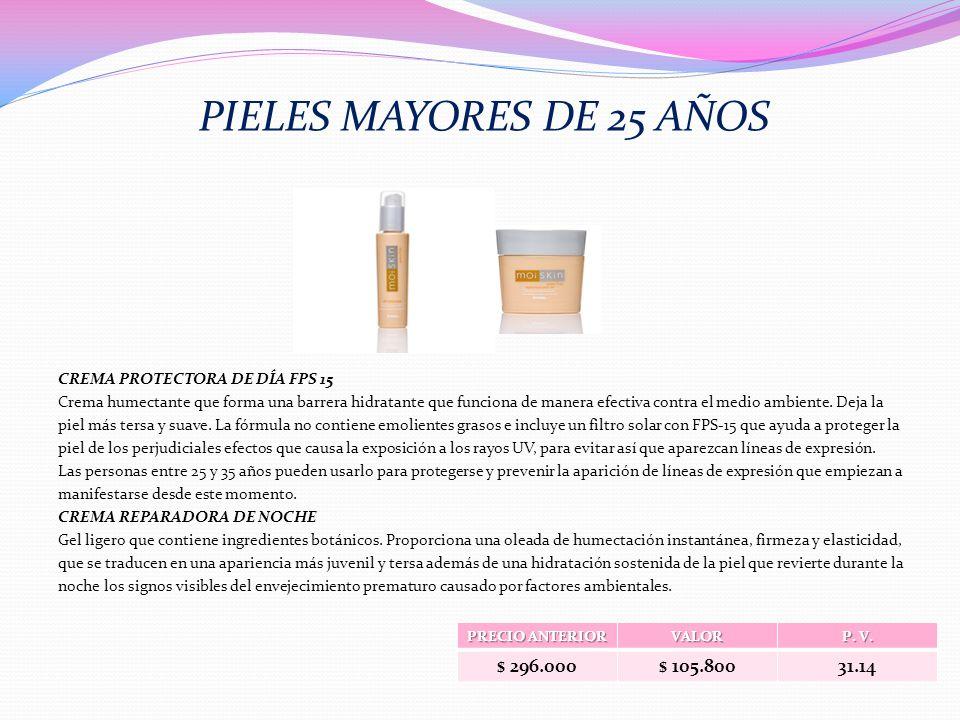 PIELES MAYORES DE 25 AÑOS $ 296.000 $ 105.800 31.14