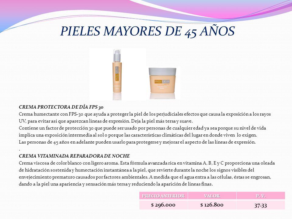 PIELES MAYORES DE 45 AÑOS $ 296.000 $ 126.800 37.33