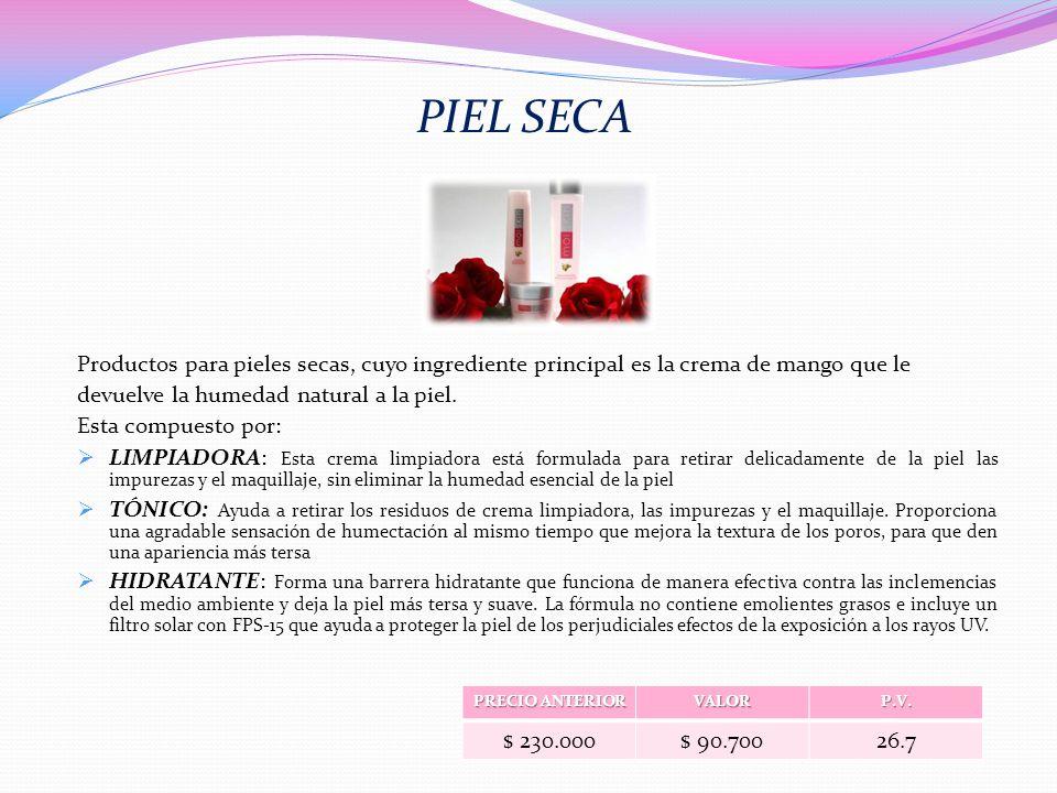 PIEL SECA Productos para pieles secas, cuyo ingrediente principal es la crema de mango que le. devuelve la humedad natural a la piel.