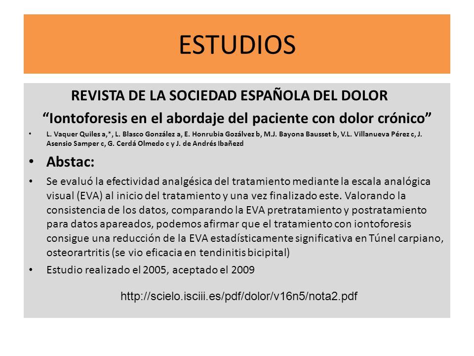 Iontoforesis en el abordaje del paciente con dolor crónico