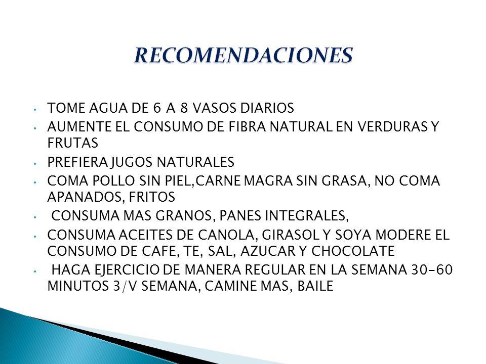 RECOMENDACIONES TOME AGUA DE 6 A 8 VASOS DIARIOS