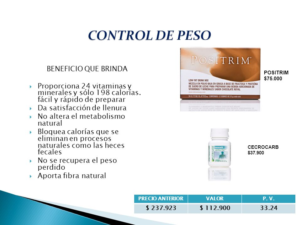 CONTROL DE PESO BENEFICIO QUE BRINDA