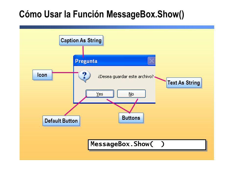 Cómo Usar la Función MessageBox.Show()