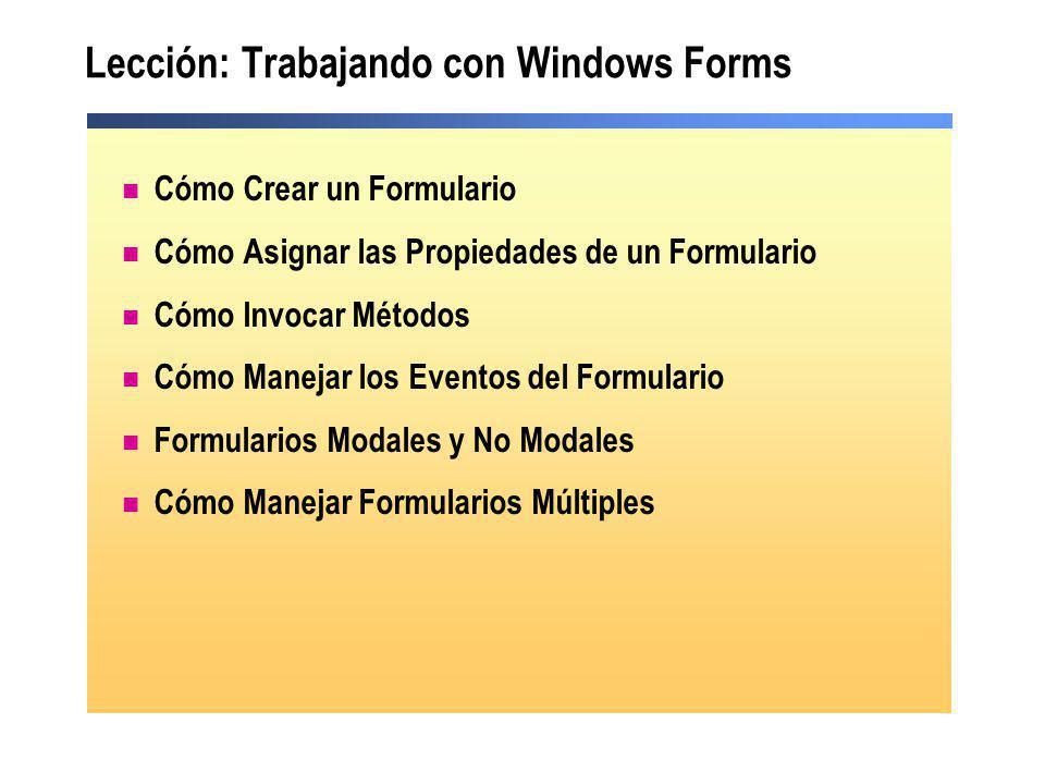 Lección: Trabajando con Windows Forms