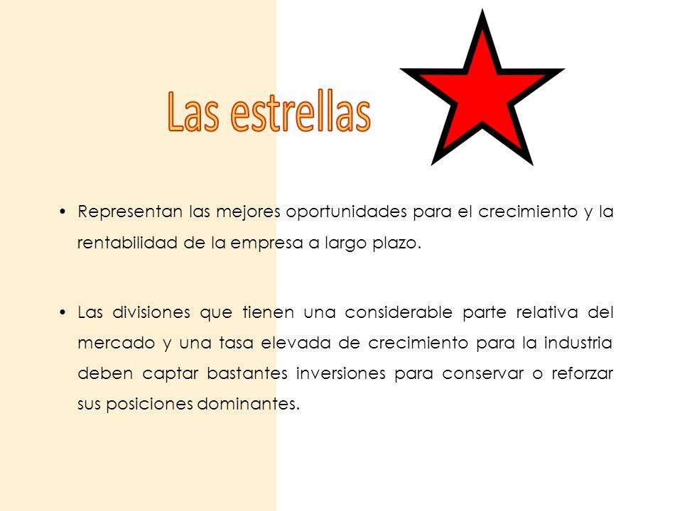 Las estrellas Representan las mejores oportunidades para el crecimiento y la rentabilidad de la empresa a largo plazo.