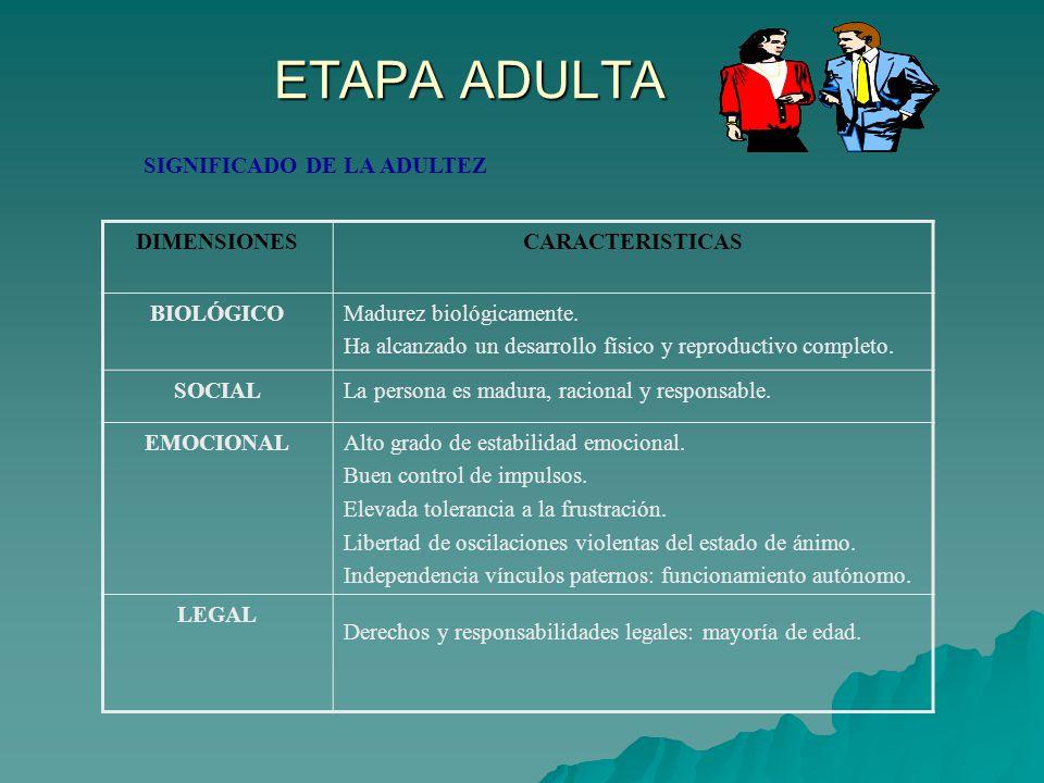 ETAPA ADULTA SIGNIFICADO DE LA ADULTEZ DIMENSIONES CARACTERISTICAS