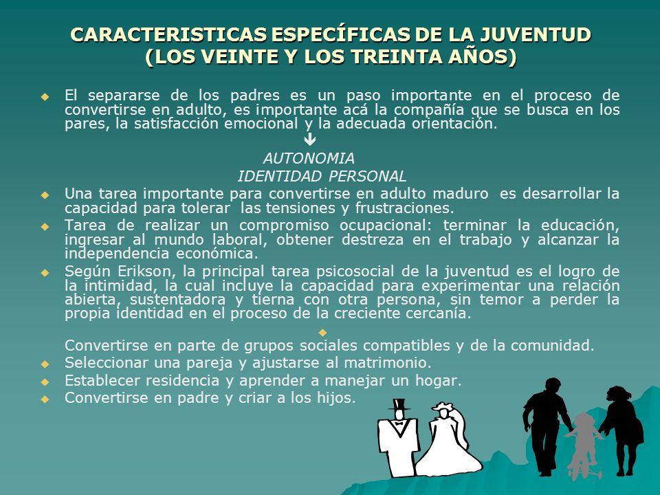 CARACTERISTICAS ESPECÍFICAS DE LA JUVENTUD (LOS VEINTE Y LOS TREINTA AÑOS)