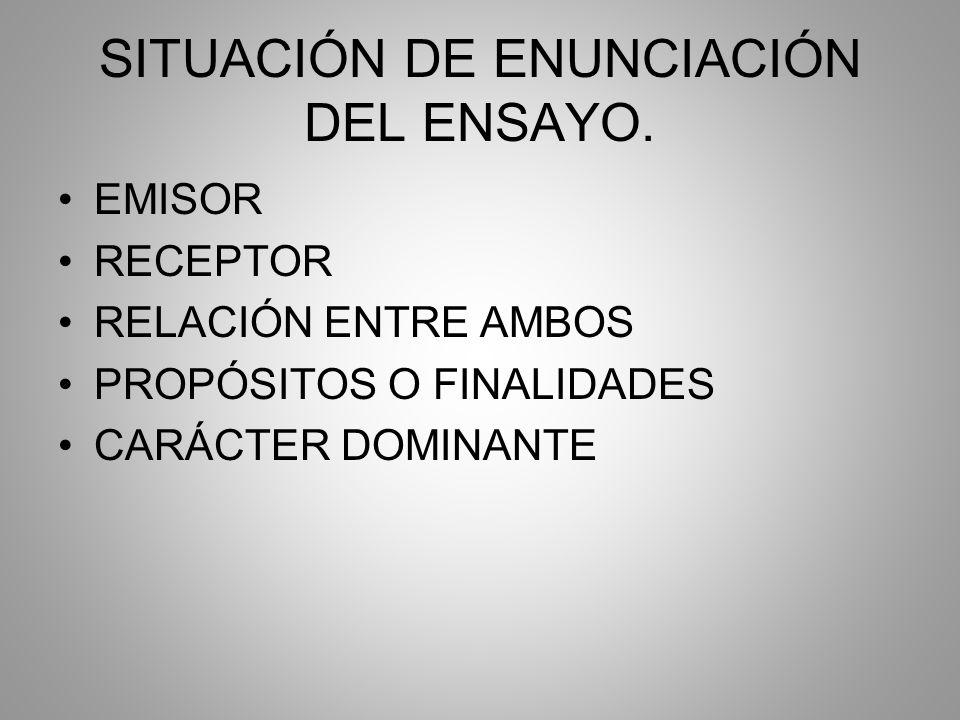 SITUACIÓN DE ENUNCIACIÓN DEL ENSAYO.