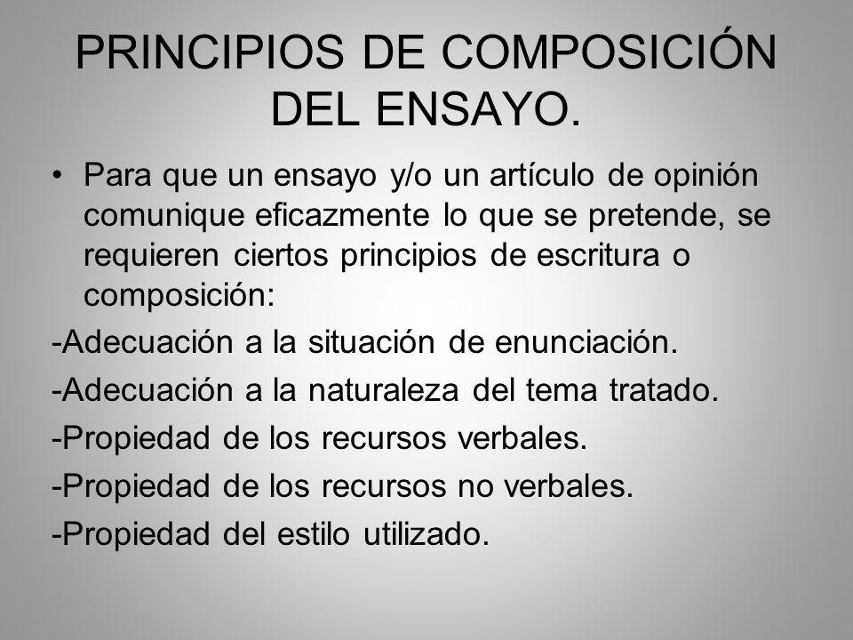 PRINCIPIOS DE COMPOSICIÓN DEL ENSAYO.