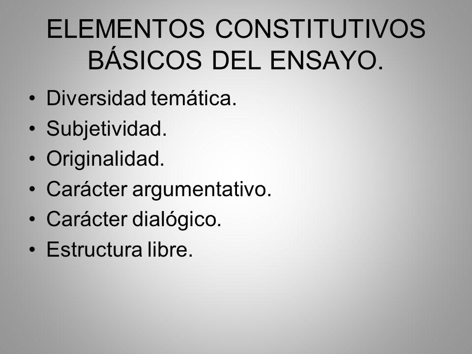 ELEMENTOS CONSTITUTIVOS BÁSICOS DEL ENSAYO.