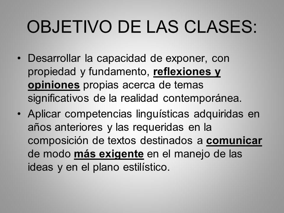 OBJETIVO DE LAS CLASES: