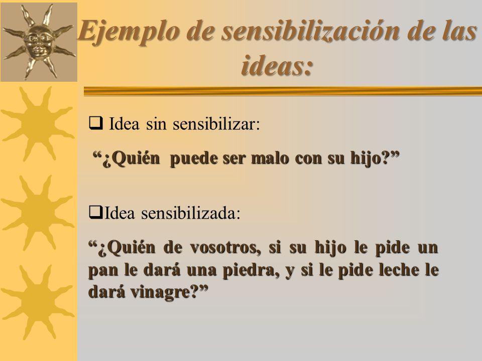 Ejemplo de sensibilización de las ideas:
