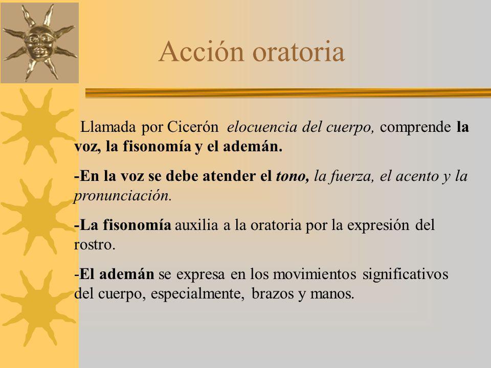 Acción oratoria Llamada por Cicerón elocuencia del cuerpo, comprende la voz, la fisonomía y el ademán.