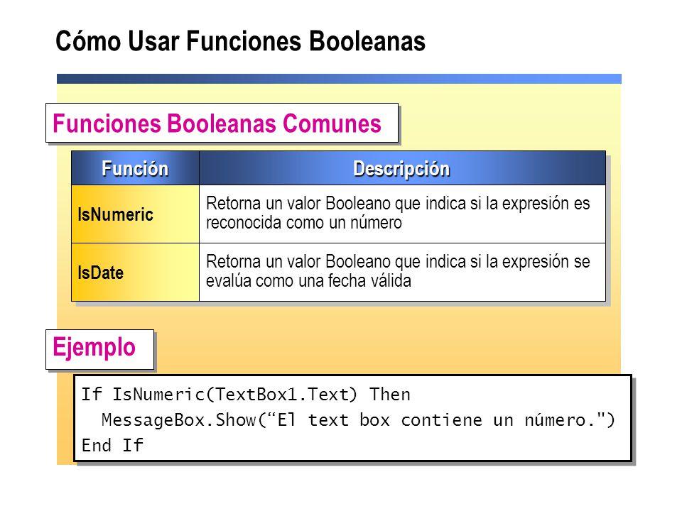 Cómo Usar Funciones Booleanas