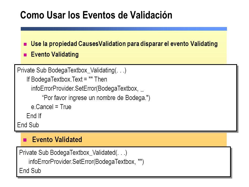 Como Usar los Eventos de Validación