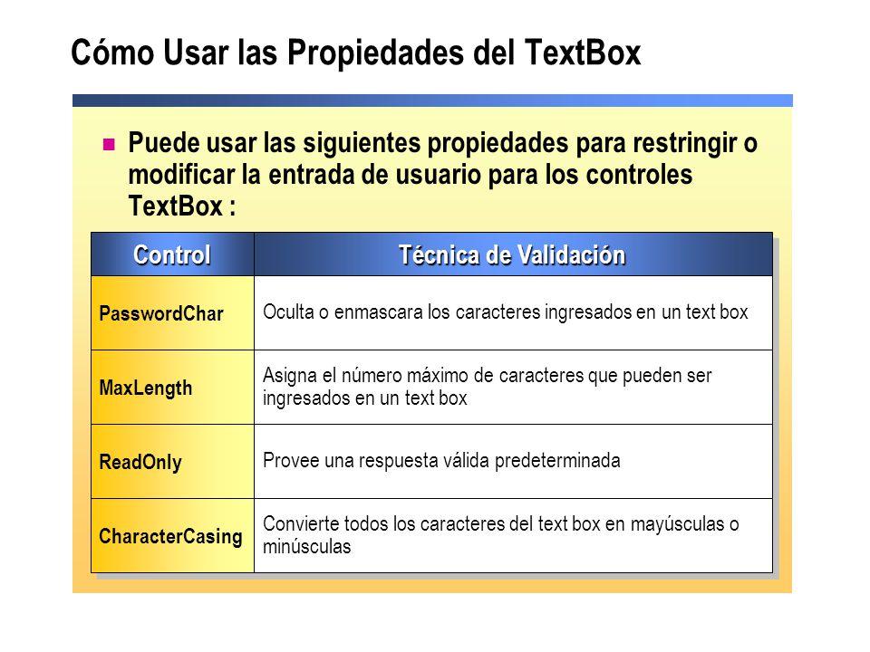 Cómo Usar las Propiedades del TextBox