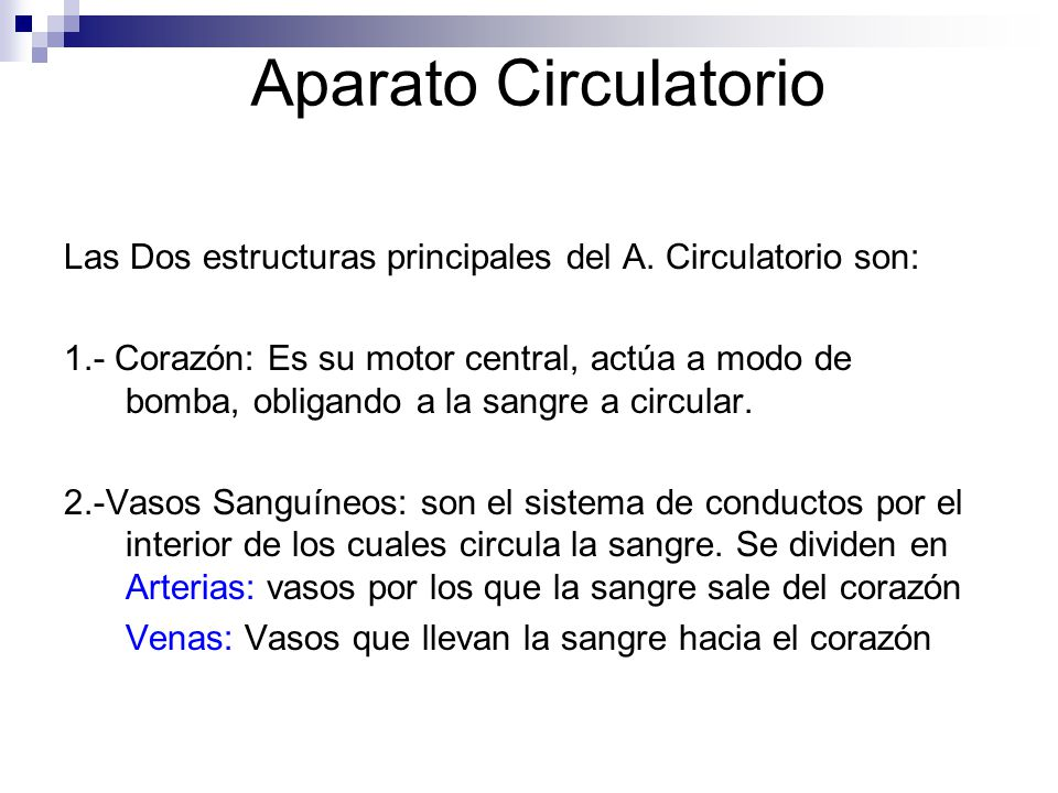 Aparato Circulatorio Las Dos estructuras principales del A. Circulatorio son: