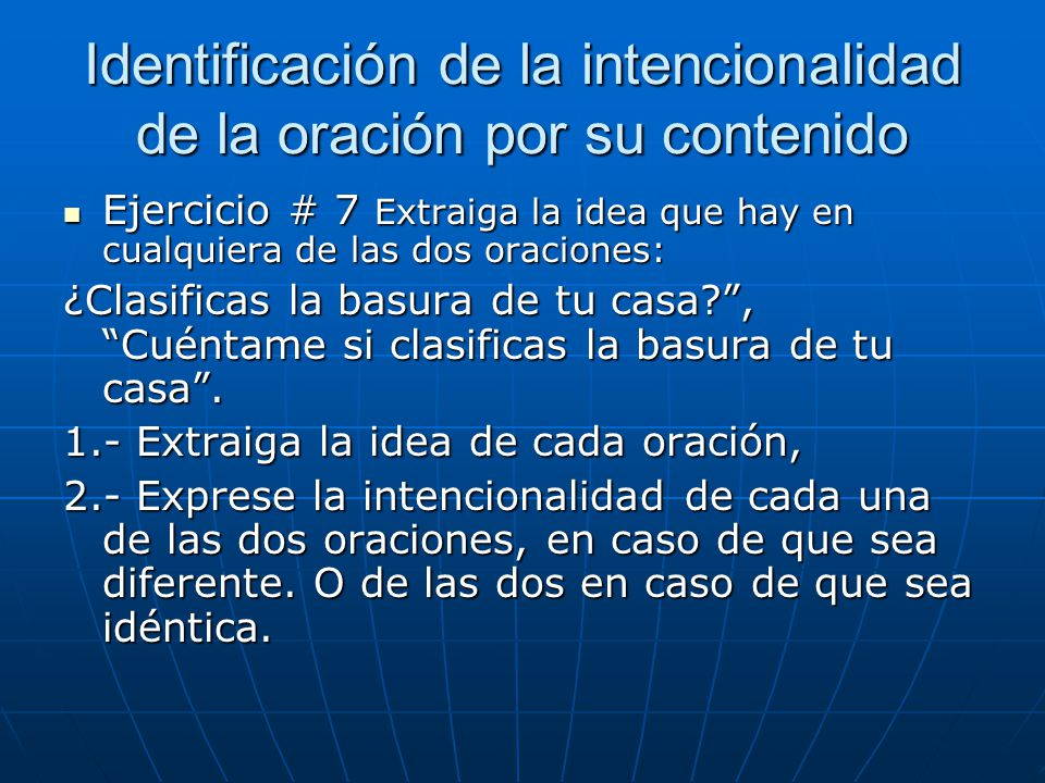 Identificación de la intencionalidad de la oración por su contenido
