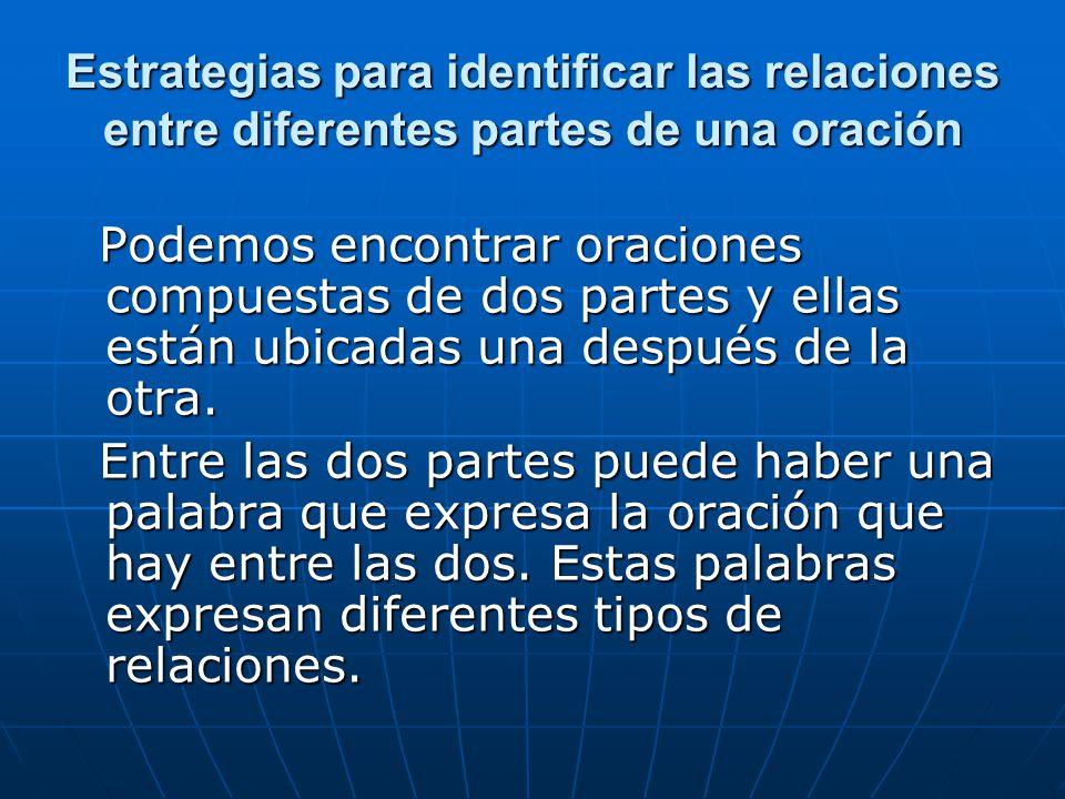 Estrategias para identificar las relaciones entre diferentes partes de una oración