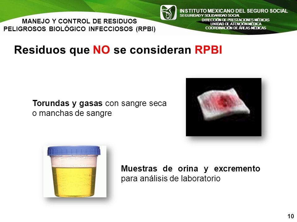 Residuos que NO se consideran RPBI