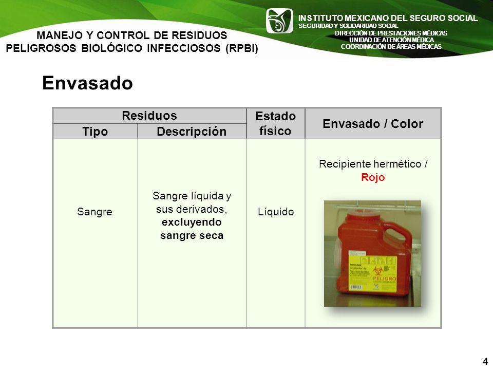 Envasado Residuos Estado físico Envasado / Color Tipo Descripción