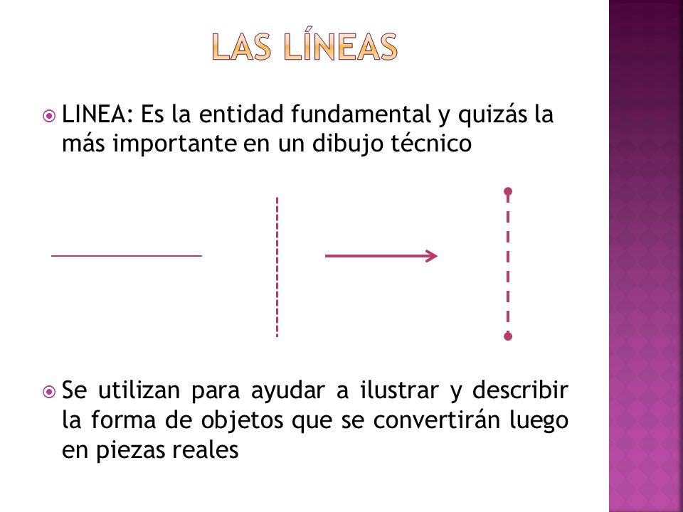 Las líneas LINEA: Es la entidad fundamental y quizás la más importante en un dibujo técnico.