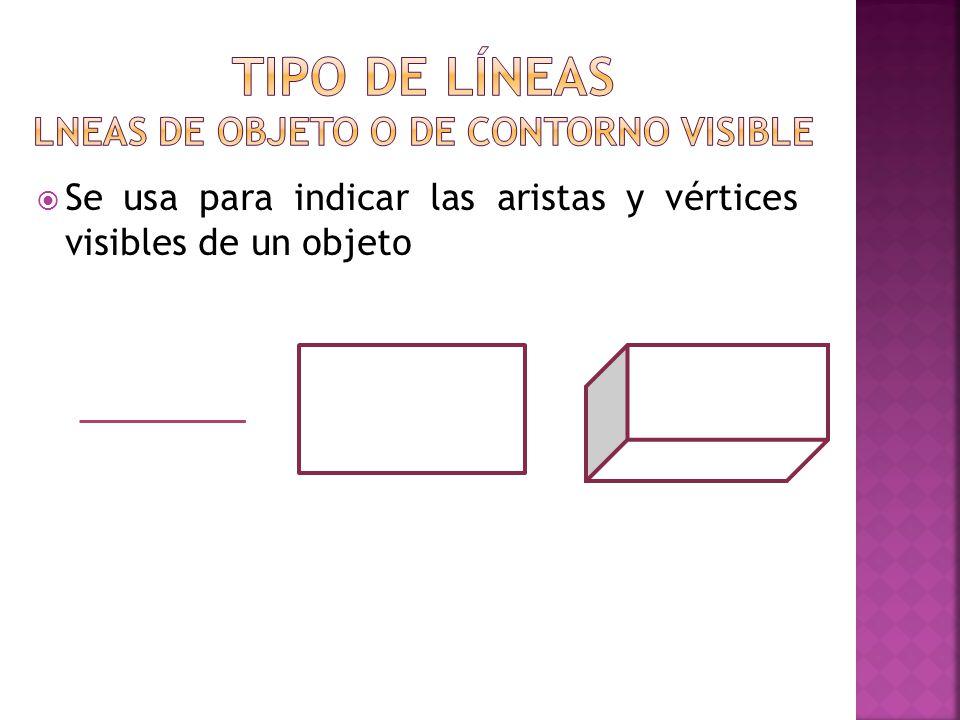 TIPO DE LÍNEAS LNEAS DE OBJETO O DE CONTORNO VISIBLE