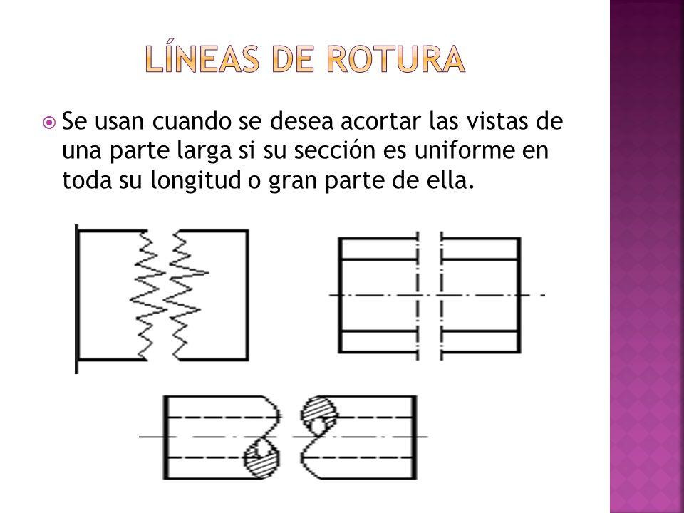 Líneas de rotura Se usan cuando se desea acortar las vistas de una parte larga si su sección es uniforme en toda su longitud o gran parte de ella.
