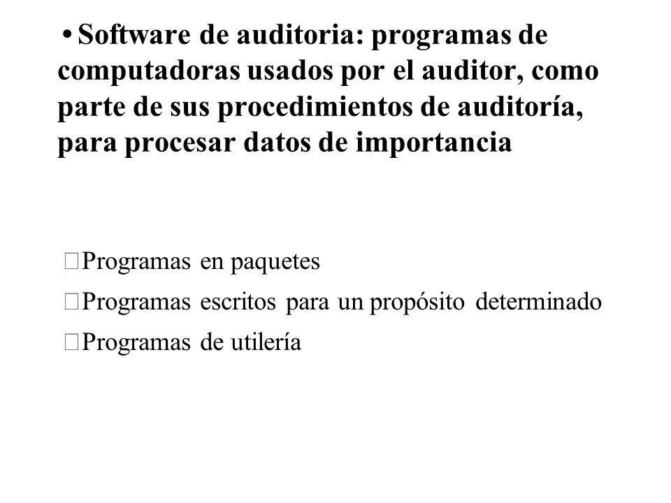 Software de auditoria: programas de computadoras usados por el auditor, como parte de sus procedimientos de auditoría, para procesar datos de importancia