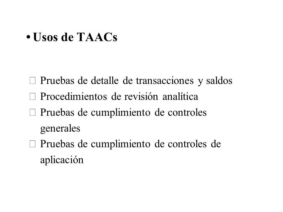 Usos de TAACs Pruebas de detalle de transacciones y saldos