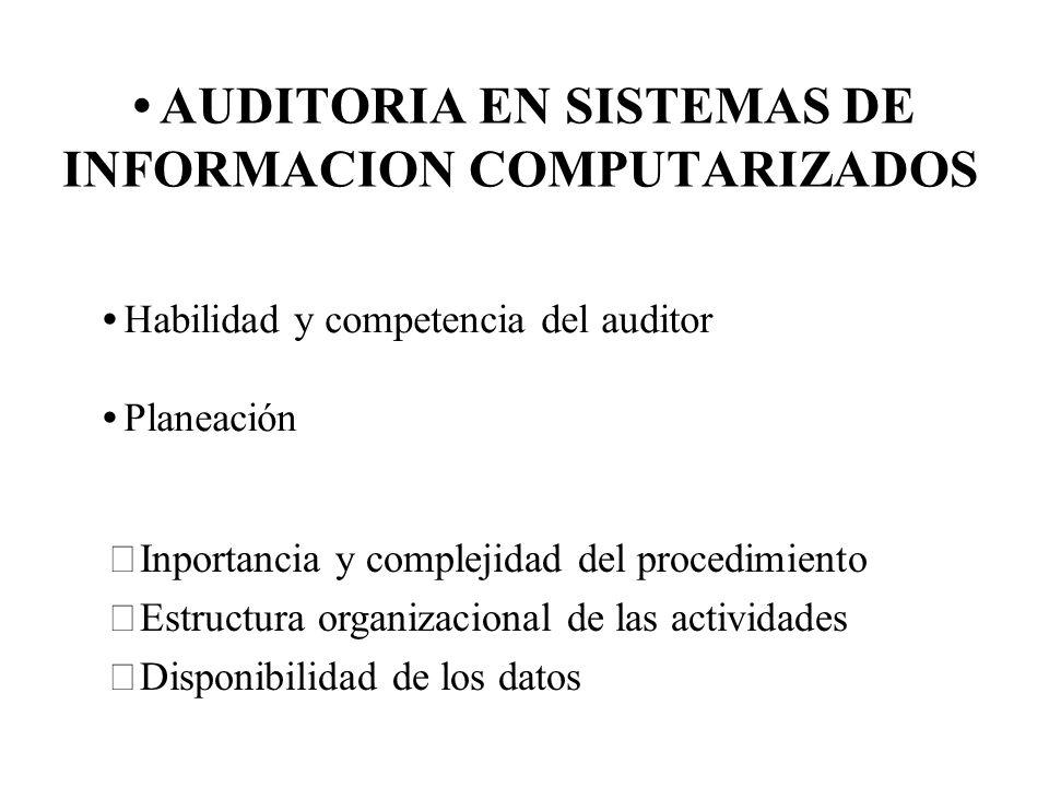 AUDITORIA EN SISTEMAS DE INFORMACION COMPUTARIZADOS