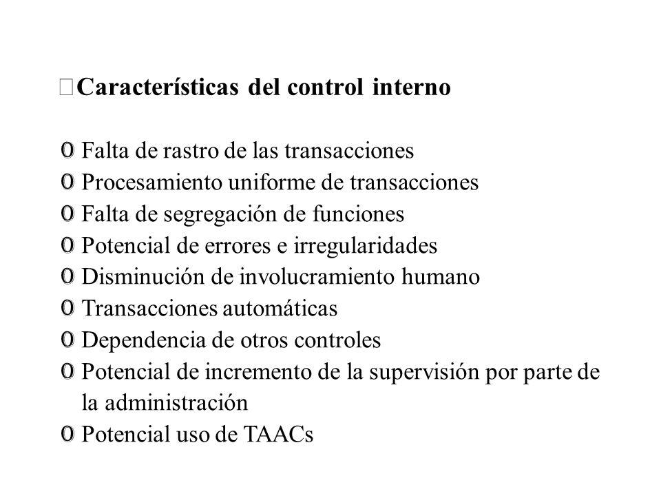 Características del control interno
