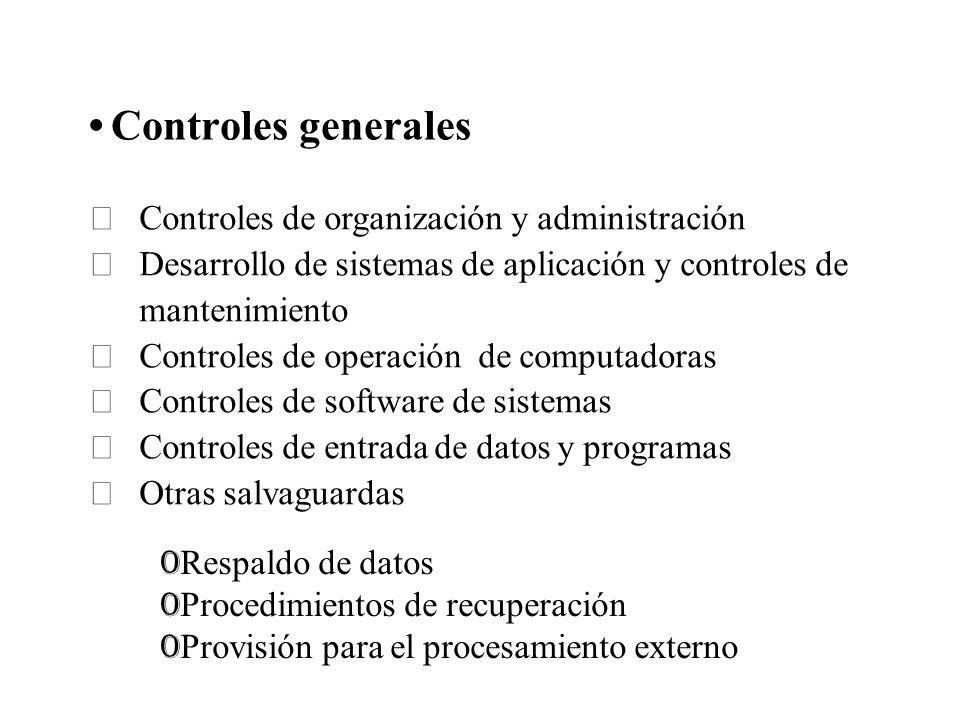 Controles generales Controles de organización y administración