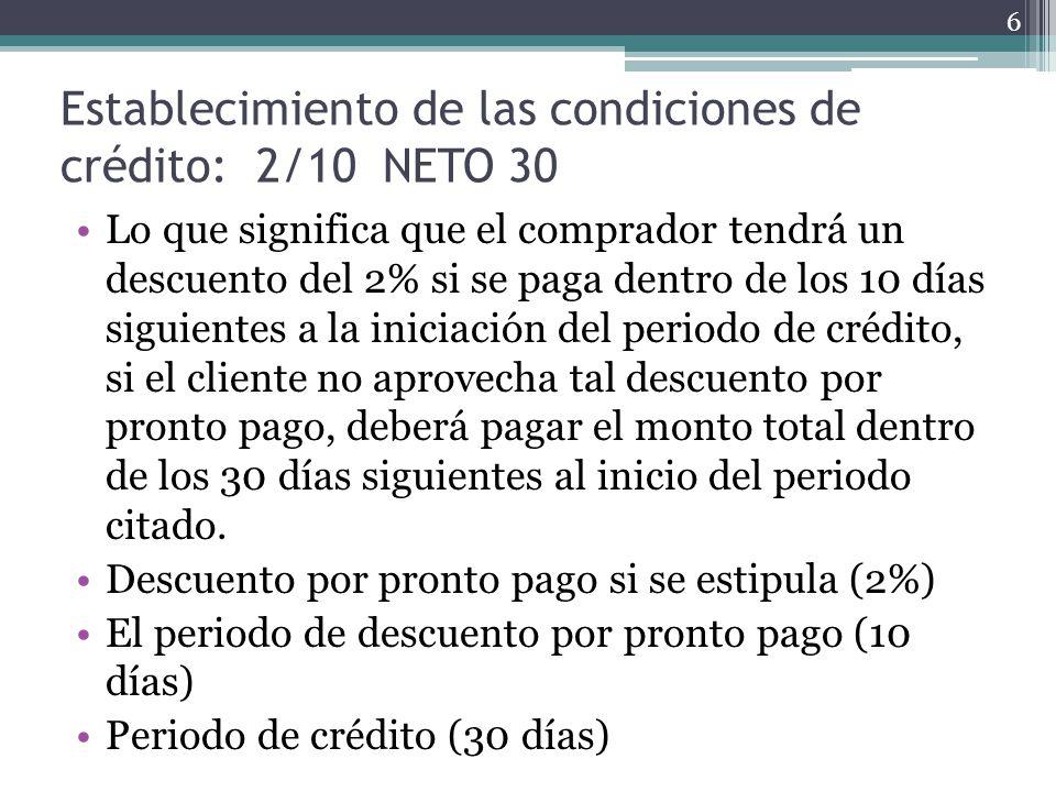 Establecimiento de las condiciones de crédito: 2/10 NETO 30