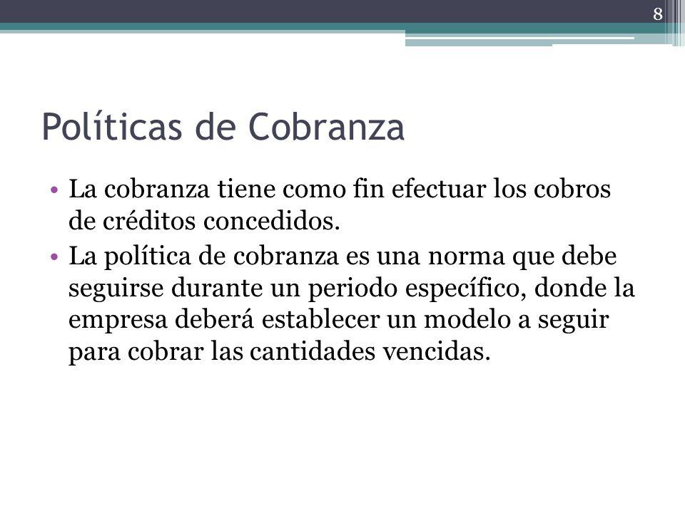 Políticas de Cobranza La cobranza tiene como fin efectuar los cobros de créditos concedidos.