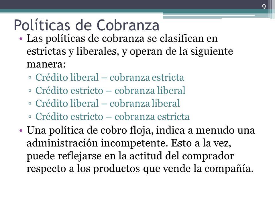 Políticas de Cobranza Las políticas de cobranza se clasifican en estrictas y liberales, y operan de la siguiente manera: