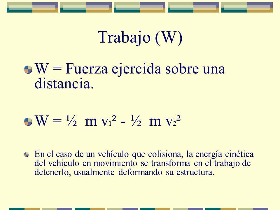 Trabajo (W) W = Fuerza ejercida sobre una distancia.