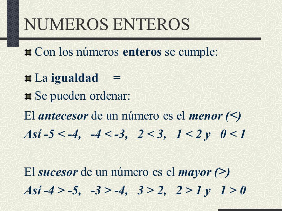 NUMEROS ENTEROS Con los números enteros se cumple: La igualdad =