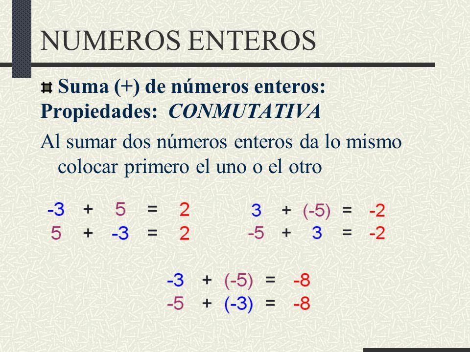 NUMEROS ENTEROS Suma (+) de números enteros: Propiedades: CONMUTATIVA