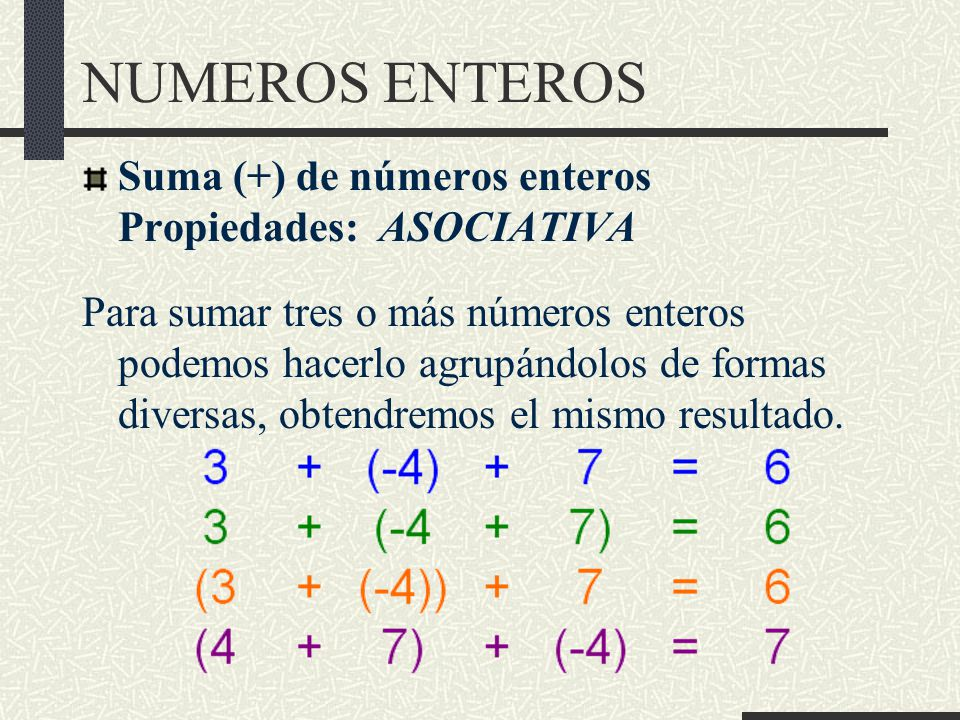 NUMEROS ENTEROS Suma (+) de números enteros Propiedades: ASOCIATIVA