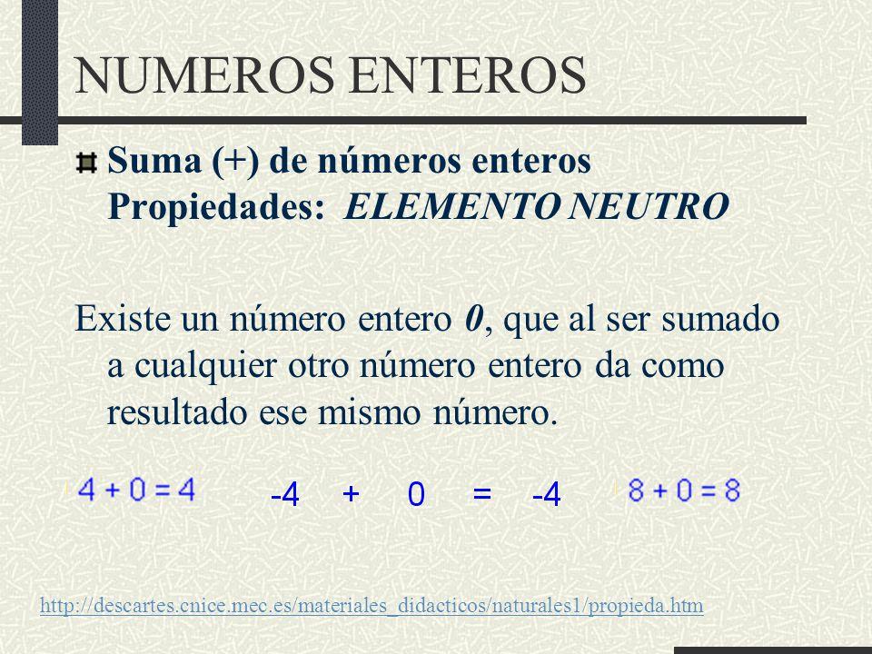 NUMEROS ENTEROS Suma (+) de números enteros Propiedades: ELEMENTO NEUTRO.