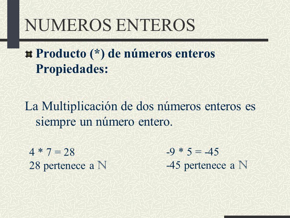 NUMEROS ENTEROS Producto (*) de números enteros Propiedades:
