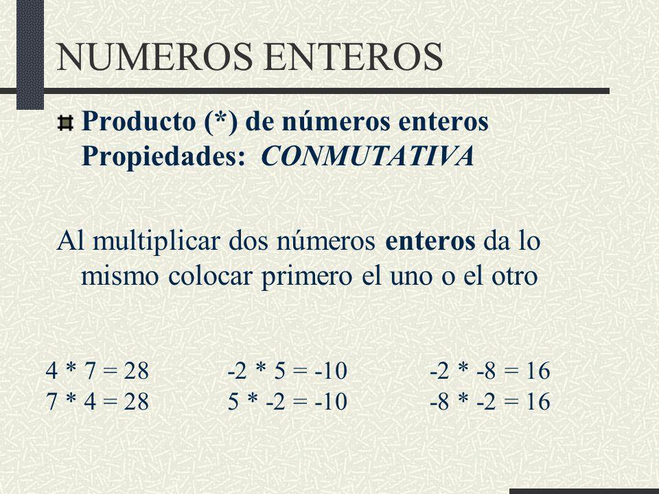 NUMEROS ENTEROS Producto (*) de números enteros Propiedades: CONMUTATIVA.