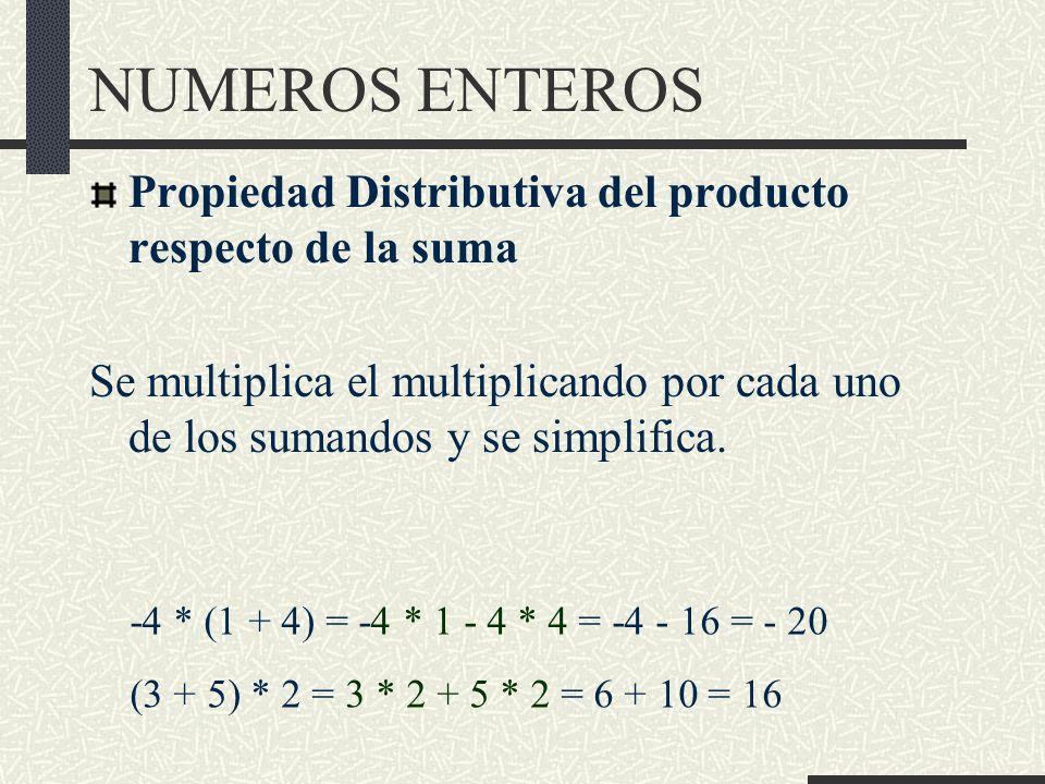 NUMEROS ENTEROS Propiedad Distributiva del producto respecto de la suma.