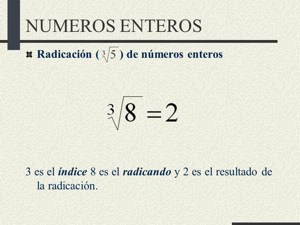 NUMEROS ENTEROS Radicación ( ) de números enteros