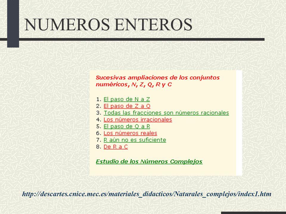NUMEROS ENTEROS http://descartes.cnice.mec.es/materiales_didacticos/Naturales_complejos/index1.htm