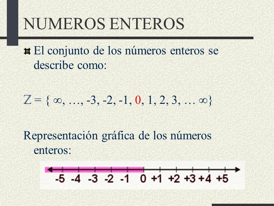 NUMEROS ENTEROS El conjunto de los números enteros se describe como: