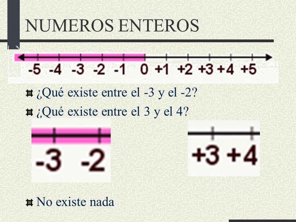 NUMEROS ENTEROS ¿Qué existe entre el -3 y el -2