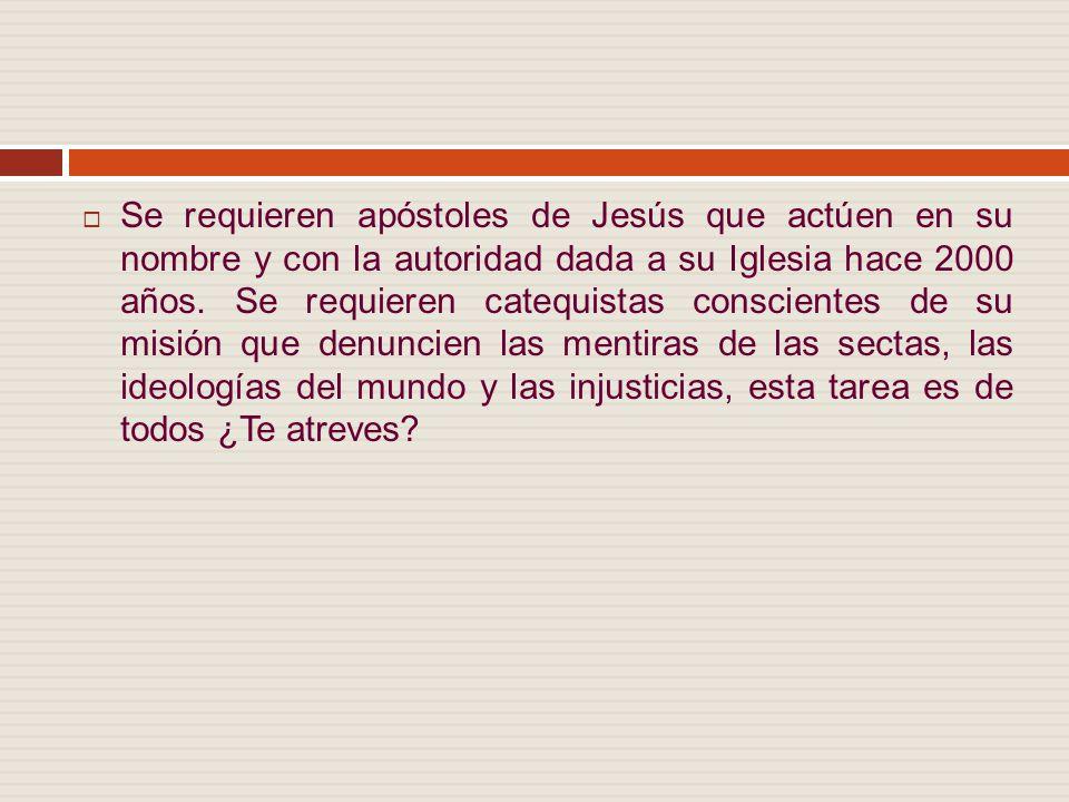 Se requieren apóstoles de Jesús que actúen en su nombre y con la autoridad dada a su Iglesia hace 2000 años.